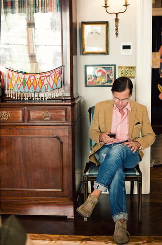 How to wear: tan wool blazer, pink long sleeve shirt, blue jeans, tan suede desert boots
