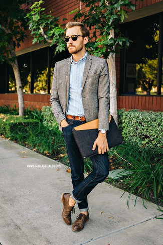 How To Wear A Grey Blazer With Brown Oxford Shoes 19 Looks