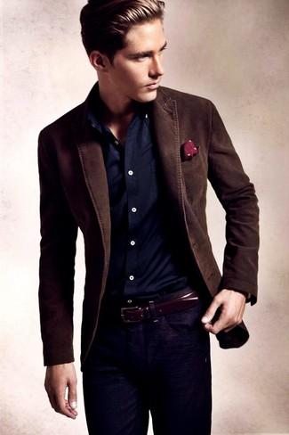 Men's Dark Brown Blazer, Navy Long Sleeve Shirt, Navy Jeans, Burgundy Polka Dot Pocket Square