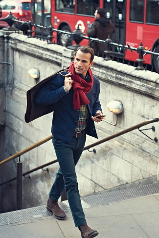 How to wear: navy knit blazer, multi colored plaid long sleeve shirt, navy skinny jeans, dark brown suede chelsea boots