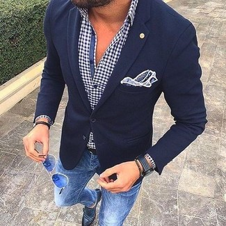How to wear: navy wool blazer, white and navy gingham long sleeve shirt, blue skinny jeans, black leather double monks