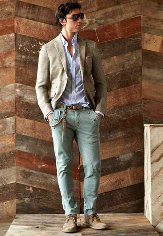 How to wear: beige wool blazer, white and navy vertical striped long sleeve shirt, mint skinny jeans, tan suede desert boots