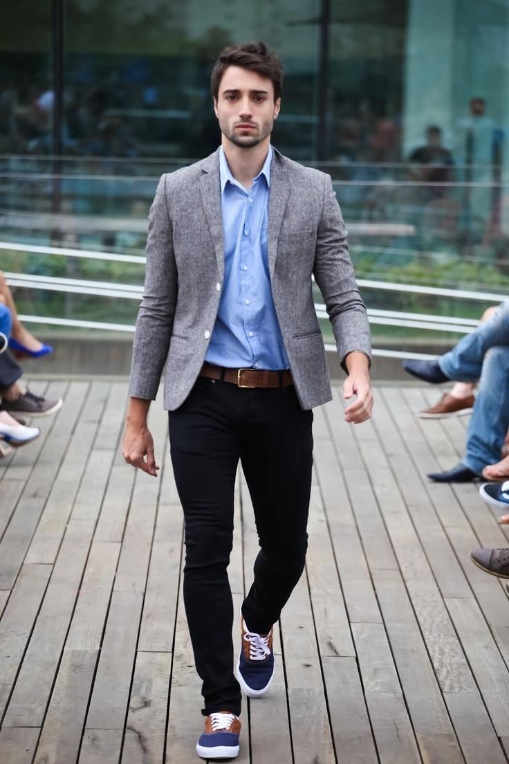 Grey jacket skinny jeans