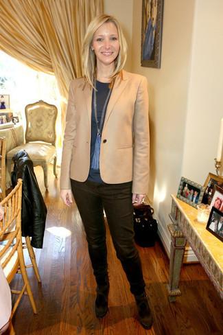 Lisa Kudrow wearing Tan Blazer, Charcoal Long Sleeve T-shirt, Dark Brown Jeans, Dark Brown Suede Pumps