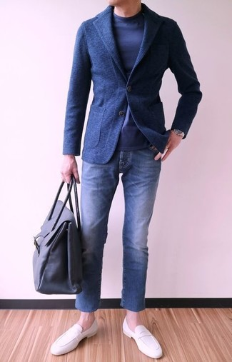 How to wear: navy wool blazer, navy long sleeve t-shirt, blue jeans, white leather loafers