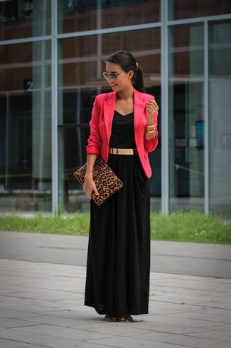How to wear: hot pink blazer, black maxi dress, gold leather flat sandals, brown leopard suede clutch