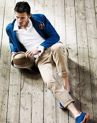 How to wear: blue blazer, white polo, beige chinos, blue suede derby shoes