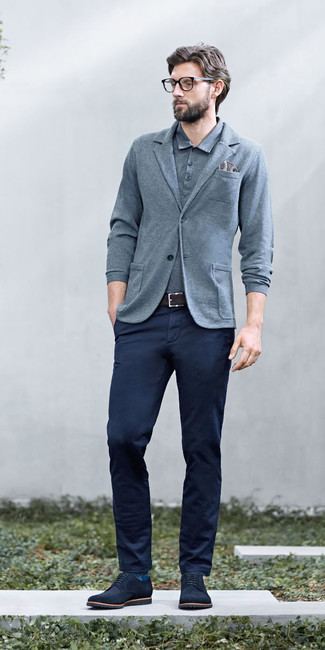 How to wear: grey knit blazer, grey polo, navy chinos, navy suede derby shoes