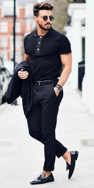 How to wear: black blazer, black polo, black dress pants, black leather tassel loafers
