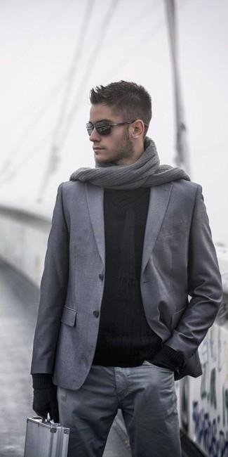 How to wear: grey wool blazer, black shawl-neck sweater, grey chinos, grey knit scarf