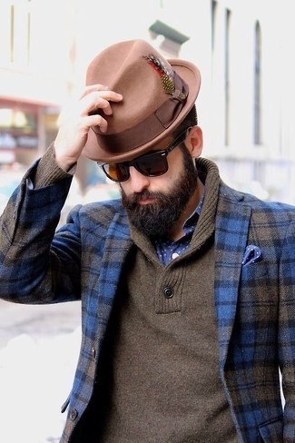 How to wear: blue plaid wool blazer, brown shawl-neck sweater, navy and white polka dot long sleeve shirt, tan wool hat