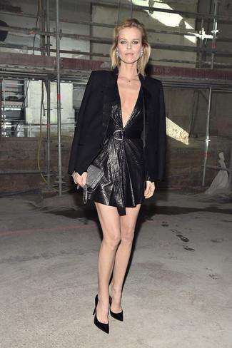 How to wear: black blazer, black leather shift dress, black satin pumps, silver sequin clutch