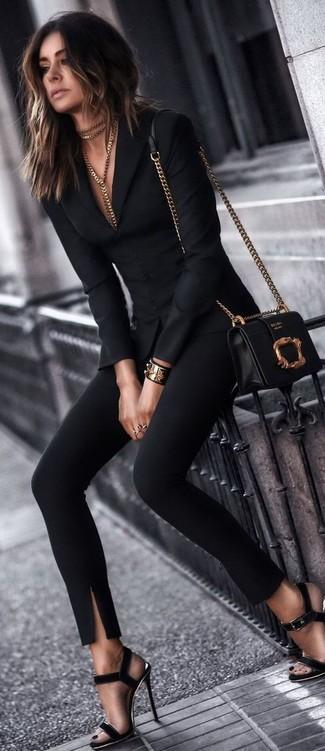 How to wear: black blazer, black skinny pants, black suede heeled sandals, black and gold leather crossbody bag