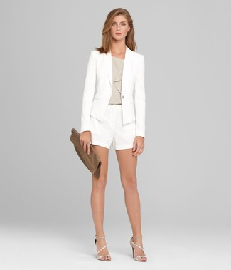 How to wear: white blazer, grey sleeveless top, white shorts, silver leather heeled sandals