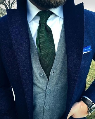 How to wear: navy wool blazer, grey sweater vest, white dress shirt, dark green knit tie