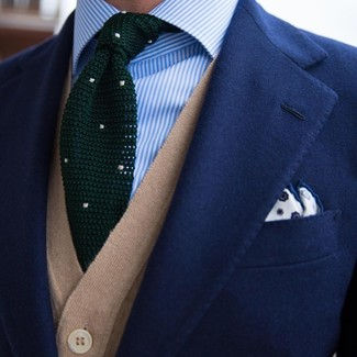 How to wear: navy blazer, tan sweater vest, light blue vertical striped dress shirt, dark green knit tie