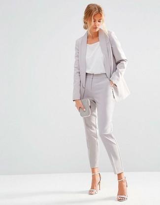 How to wear: grey blazer, white silk tank, grey dress pants, silver leather heeled sandals
