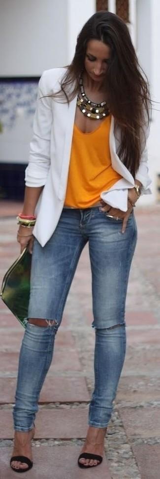 How to wear: white blazer, orange tank, blue ripped skinny jeans, black satin heeled sandals