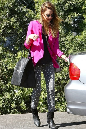 Jessica Alba wearing Hot Pink Blazer, Black Tank, Grey Star Print Skinny Jeans, Black Snake Leather Ankle Boots