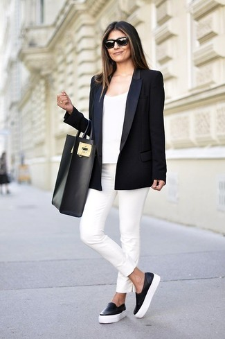 Wear a black jacket with white slim pants for a comfortable outfit that's also put together nicely. A pair of black leather slip-on sneakers will be a stylish addition to your outfit.