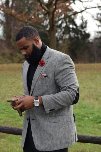 How to wear: grey blazer, black turtleneck, black chinos, red floral pocket square