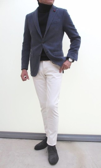 How to wear: charcoal wool blazer, black turtleneck, white chinos, charcoal suede desert boots