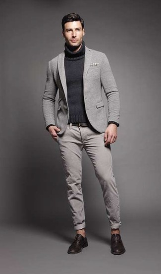 How to wear: grey wool blazer, charcoal knit turtleneck, grey chinos, dark brown leather derby shoes
