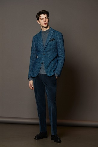 How to wear: navy plaid wool blazer, grey knit turtleneck, navy corduroy dress pants, black leather tassel loafers