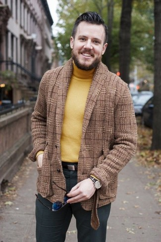 How to wear: brown plaid wool blazer, yellow turtleneck, charcoal dress pants, dark brown leather belt
