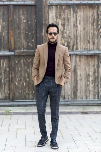 How to wear: tan wool blazer, black turtleneck, charcoal check wool dress pants, black leather double monks