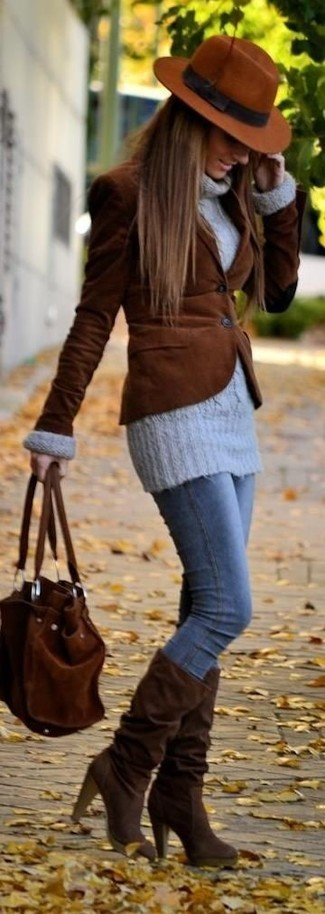 A brown corduroy blazer and a hat are a great outfit formula to have in your arsenal. Consider dark brown suede knee high boots as the glue that will bring your look together. An ensemble like this makes it easy to embrace the colder months.