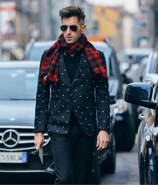 How to wear: black and white polka dot blazer, black v-neck sweater, black wool dress pants, red plaid scarf