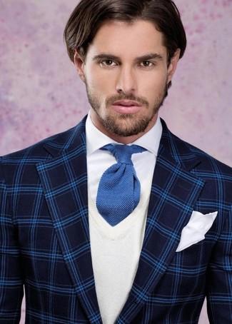 How to wear: navy plaid blazer, white v-neck sweater, white dress shirt, blue knit tie