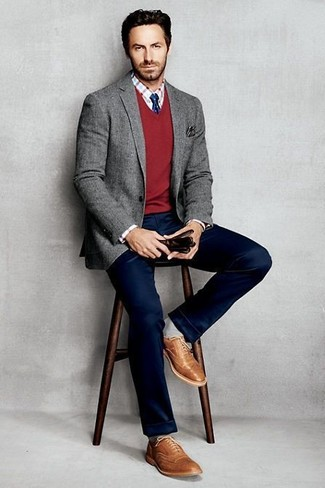 How to wear: grey wool blazer, red v-neck sweater, white and red check dress shirt, navy chinos