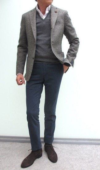 How to wear: grey wool blazer, grey v-neck sweater, white dress shirt, charcoal chinos