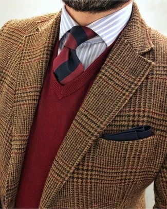 How to wear: brown houndstooth wool blazer, red v-neck sweater, light blue vertical striped dress shirt, red and black vertical striped tie
