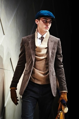 How to wear: dark brown corduroy blazer, brown v-neck sweater, white dress shirt, navy wool dress pants