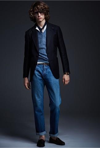 How to wear: black blazer, navy v-neck sweater, white henley shirt, blue jeans