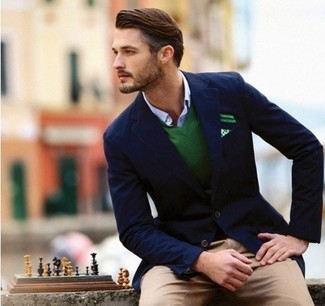 How to wear: navy blazer, green v-neck sweater, white and blue gingham long sleeve shirt, khaki chinos