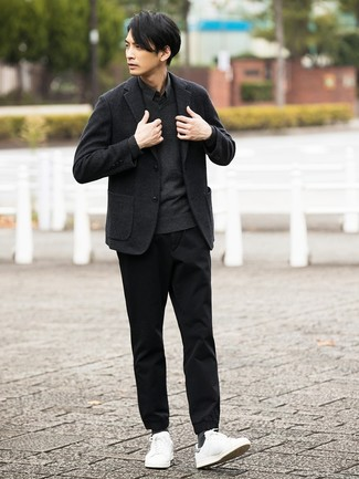 How to wear: charcoal wool blazer, charcoal v-neck sweater, black long sleeve shirt, black chinos