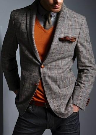 How to wear: grey plaid wool blazer, orange v-neck sweater, grey long sleeve shirt, black jeans