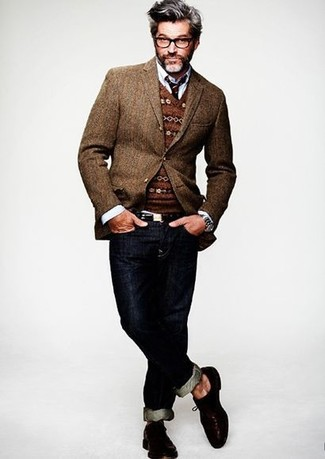 Men's Brown Wool Blazer, Brown Fair Isle V-neck Sweater, White Long Sleeve Shirt, Navy Jeans
