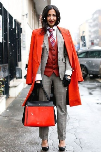 How to wear: white dress shirt, grey plaid blazer, red vest, red coat