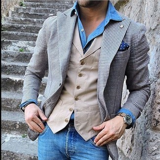 How to wear: grey gingham blazer, beige waistcoat, blue denim shirt, blue jeans