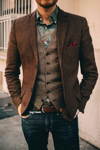 How to wear: dark brown herringbone wool blazer, brown herringbone wool waistcoat, blue floral denim shirt, navy jeans