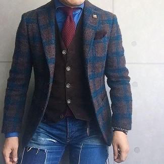 How to wear: dark brown check wool blazer, dark brown waistcoat, blue denim shirt, blue ripped skinny jeans