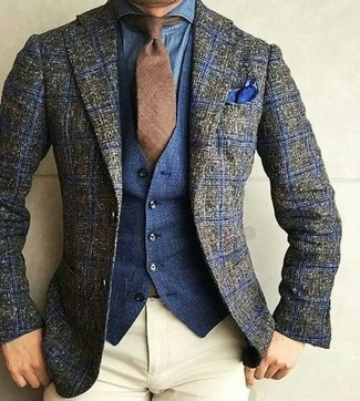 How to wear: olive plaid wool blazer, navy denim waistcoat, blue denim shirt, beige chinos