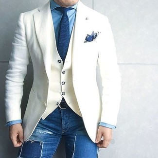 How to wear: white wool blazer, white waistcoat, blue denim shirt, blue ripped skinny jeans