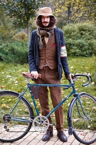 How to wear: navy wool blazer, brown wool waistcoat, brown wool dress pants, dark brown leather brogues