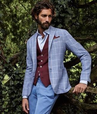 How to wear: grey check blazer, burgundy waistcoat, light blue dress shirt, light blue chinos